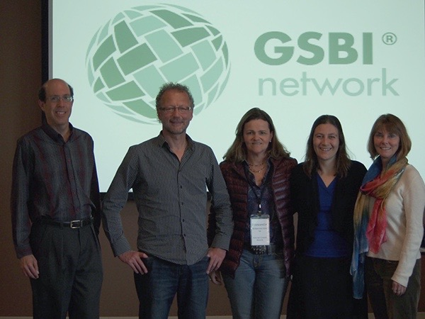 Andy Lieberman (Director of New Programs GSBI), Reinhold Steinbeck (IntoActions), Fernanda Bornhausen and Bárbara Basso (SGB), Pamela Roussos (Director of GSBI)